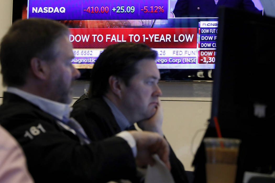 A television screen headlines news as traders prepare for the day's activity on the floor of th ...