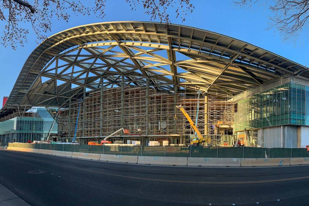 A view of the grand entry on the south facade of the new West Hall as construction continues on ...