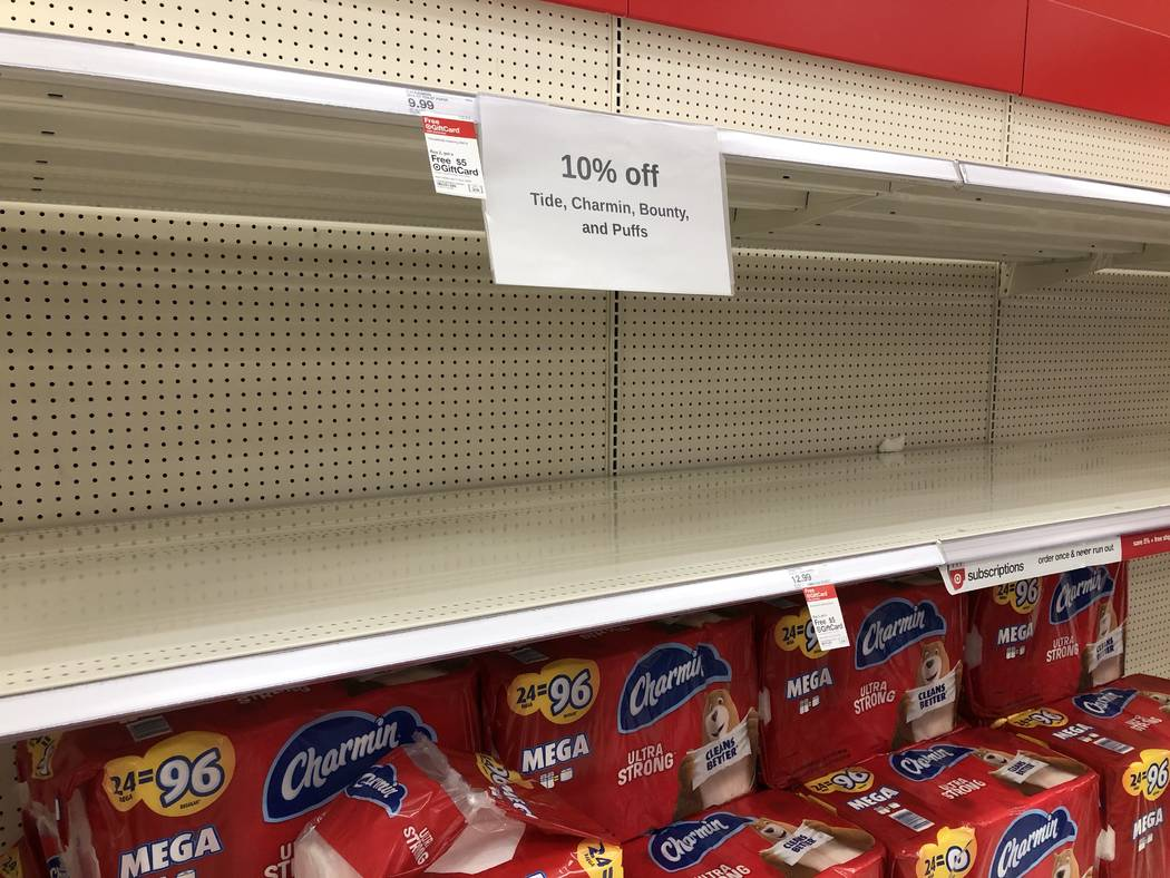 Empty shelves are seen at Target at 350 West Lake Mead Parkway in Henderson on Monday, March 9, ...