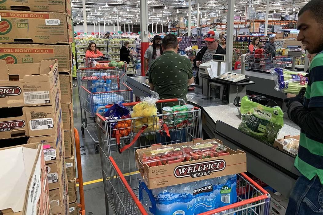 Customers shop at Costco at 6555 N. Decatur Blvd, Las Vegas, March 9, 2020. (Elizabeth Brumley/ ...