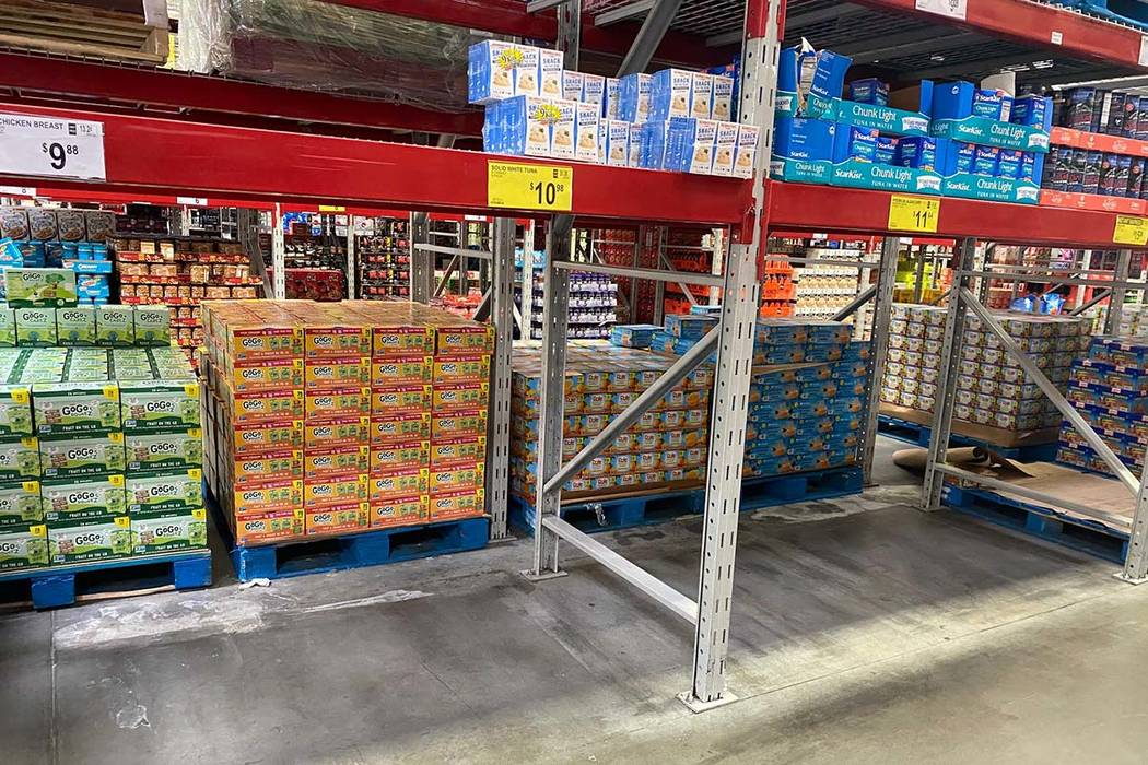 Some areas were empty as items had run out at Sam's Club at 1910 E. Serene Ave. in Las Vegas, ...