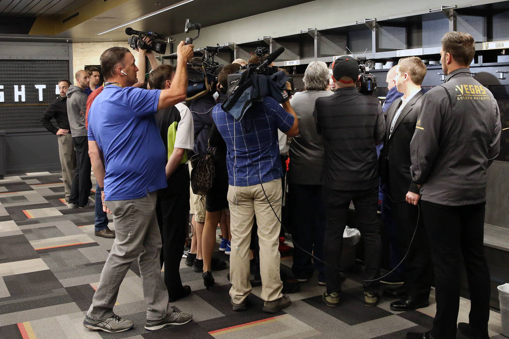 Golden Knights players address the media at their locker room at City National Arena on Thursda ...