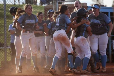 Centennial High School players cheer after winning 3-2 against Shadow Ridge High School in the ...
