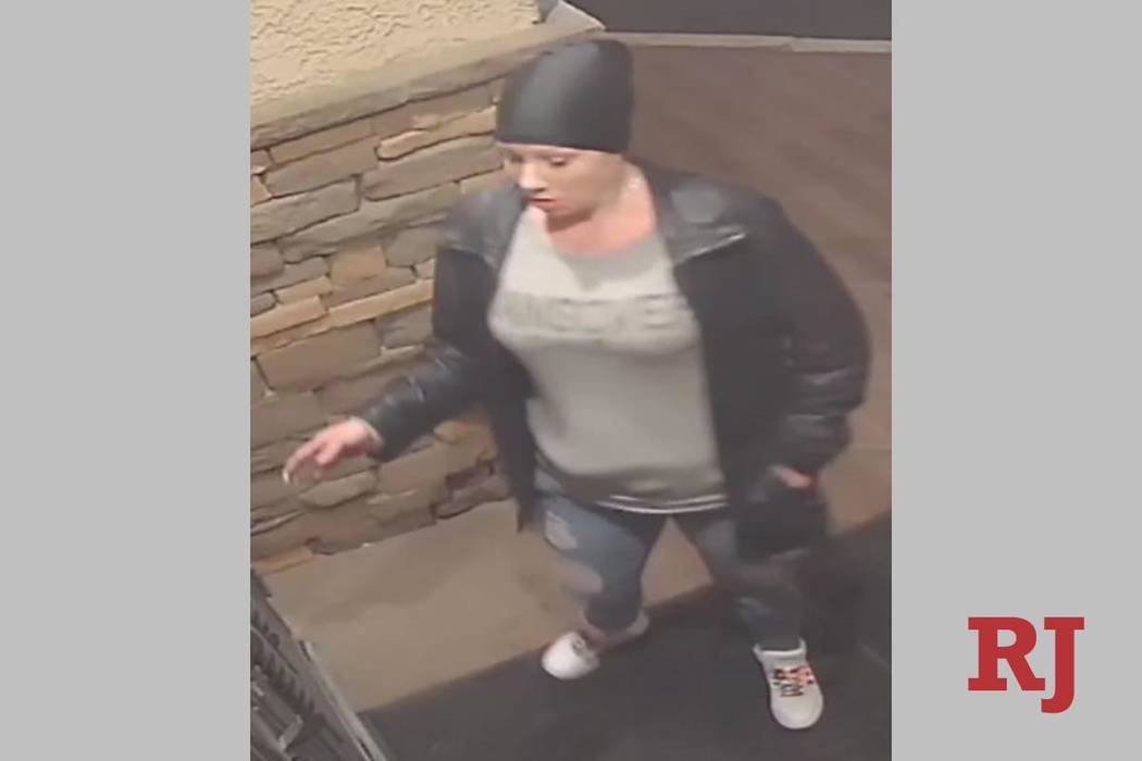 A surveillance photo of a woman wanted in connection with a string of bar robberies. (Las Vegas ...