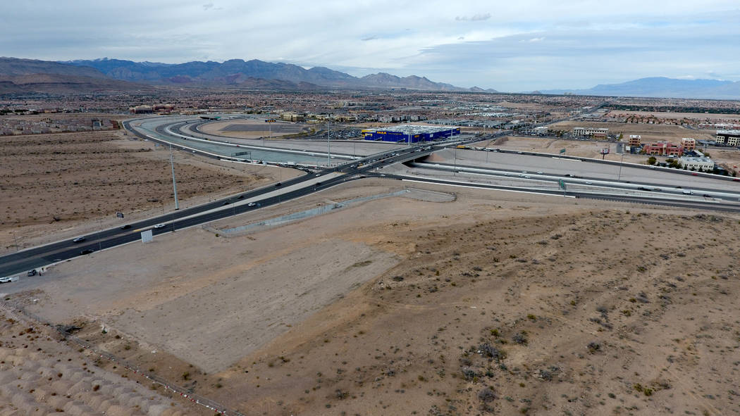 Aerial photo of vacant land at the southeast corner of South Durango Drive and the 215 Beltway ...