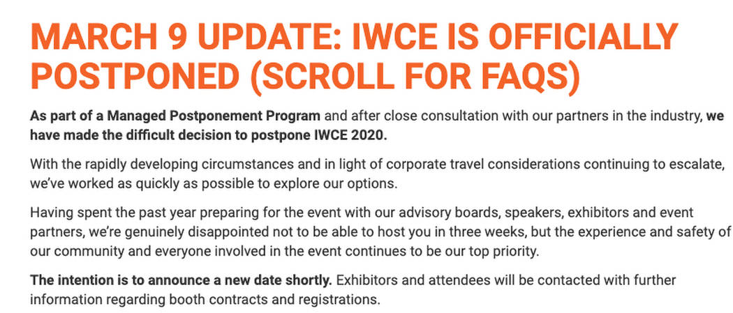 Screen shot from www.iwceexpo.com on Tuesday March 10, 2020.