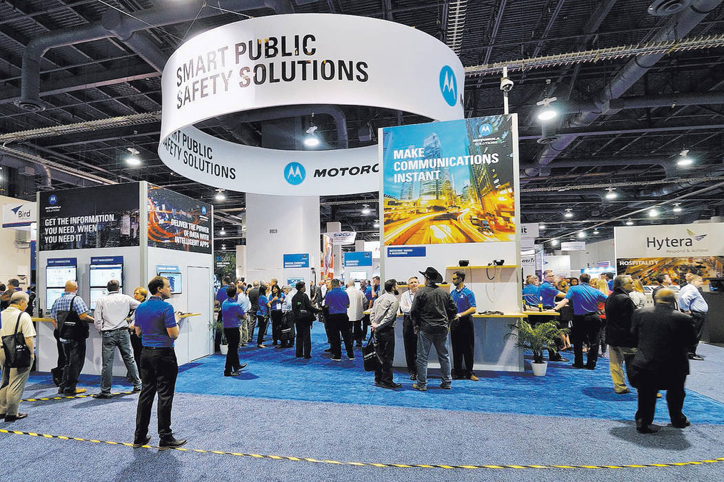 Part of the International Wireless Communications Expo is shown in the Las Vegas Convention Cen ...