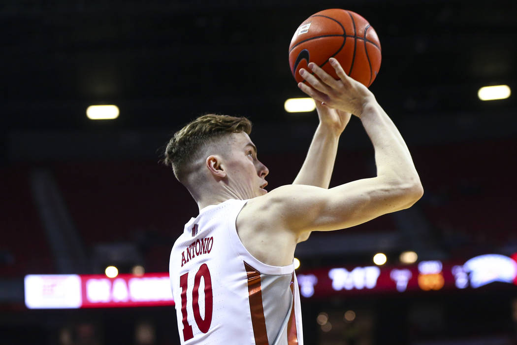 UNLV Rebels' Jonah Antonio (10) looks to shoot a three-pointer against the San Jose State Spart ...