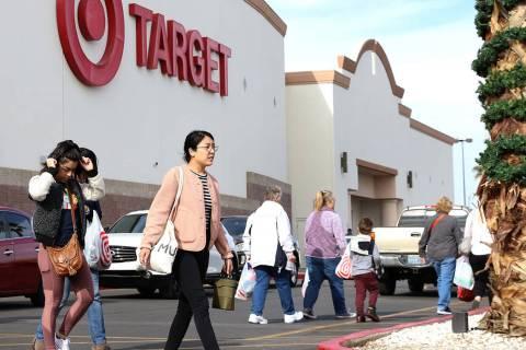 Shoppers leave Target on Monday, Dec. 24, 2018, in Henderson. (Bizuayehu Tesfaye / Las Vegas Re ...