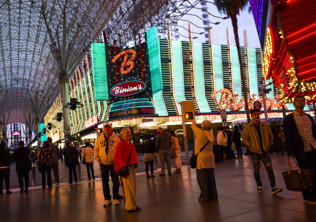 A view of Binion's at Casino Center Boulevard along the Fremont Street Experience in downtown L ...