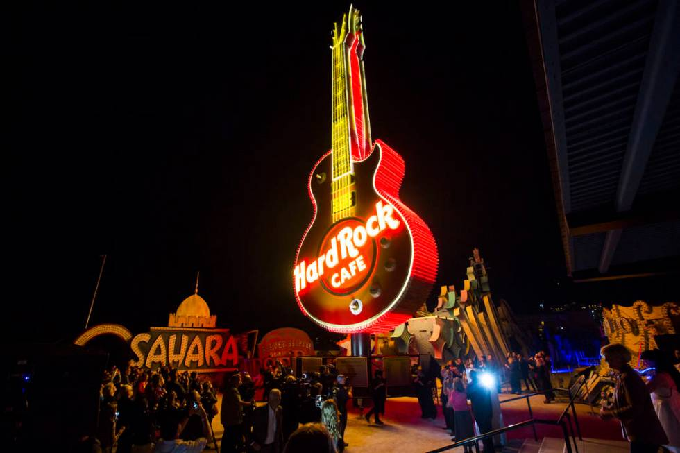 The Hard Rock Cafe Guitar Sign is illuminated for the first time in public during a special eve ...