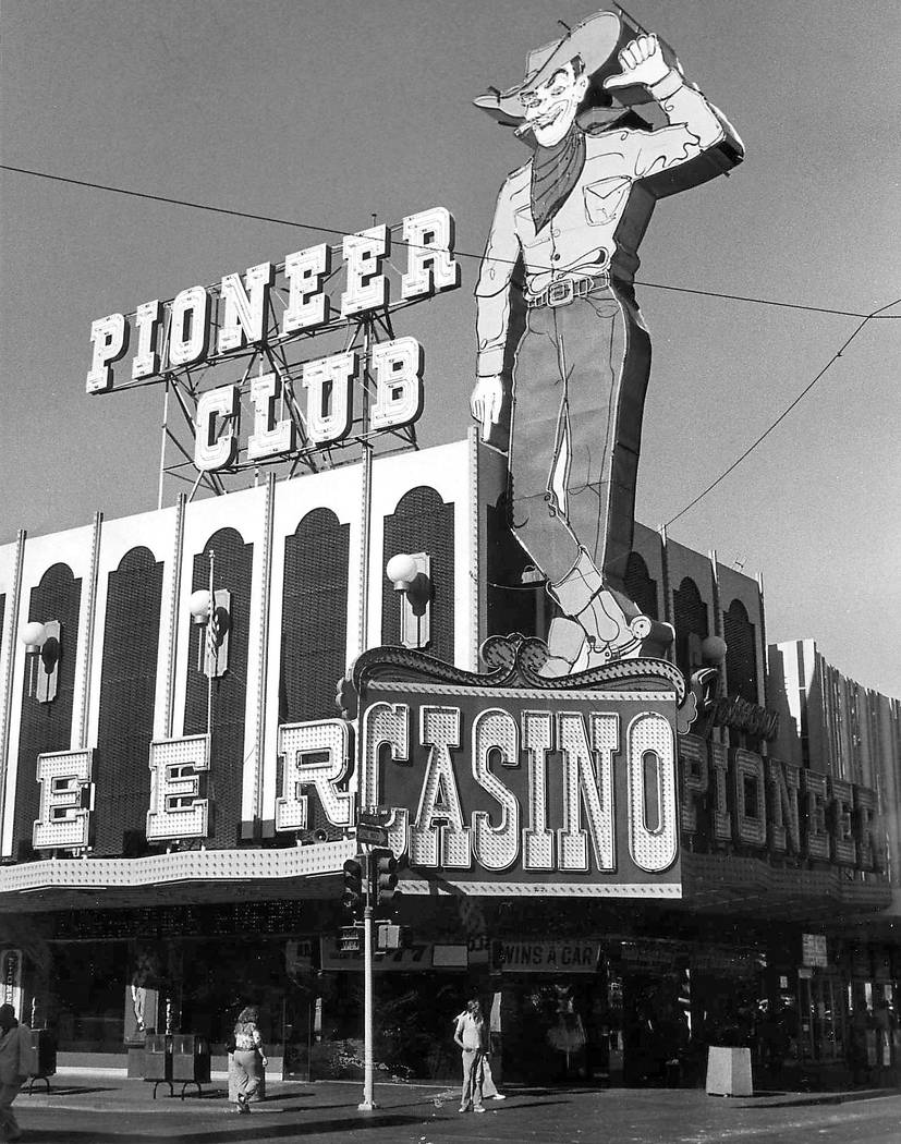 Vegas Vic neon sign is seen above the Pioneer Club casino on Fremont Street in downtown Las Veg ...