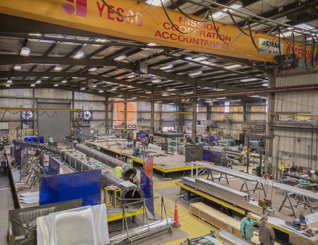 YESCO's workshop is seen during a tour on Tuesday, March 10, 2020, in Las Vegas. (Elizabeth Pag ...
