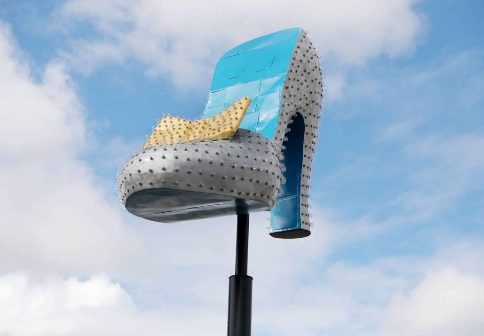 The neon Silver Slipper is seen just west of the Neon Museum Boneyard in Las Vegas on Wednesday ...