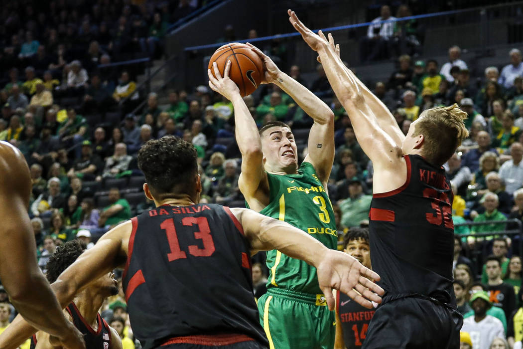 Oregon guard Payton Pritchard (3) shoots against Stanford forward Lukas Kisunas (32) during the ...