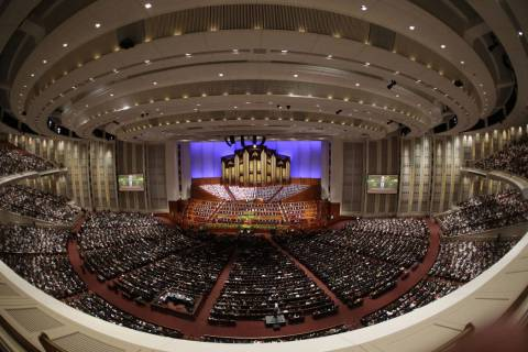 The afternoon session of the two-day Mormon church conference begins Saturday, April 5, 2014, i ...
