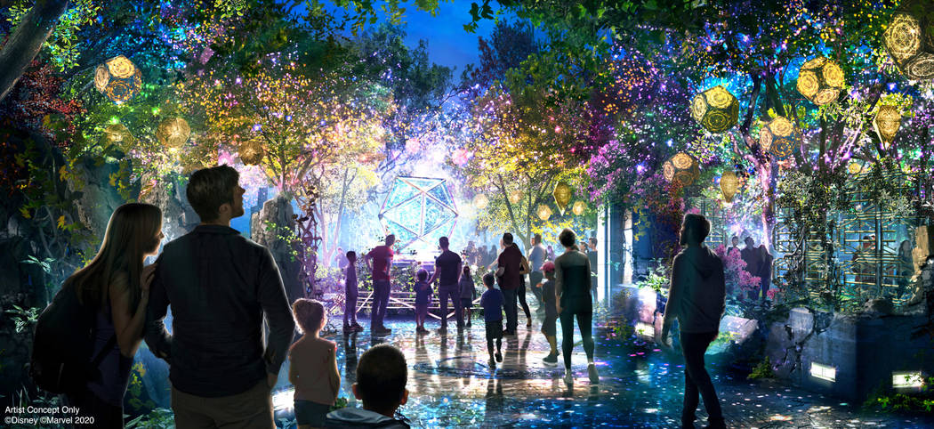 An ancient sanctum in Avengers Campus at Disney California Adventure Park glows vividly with ma ...