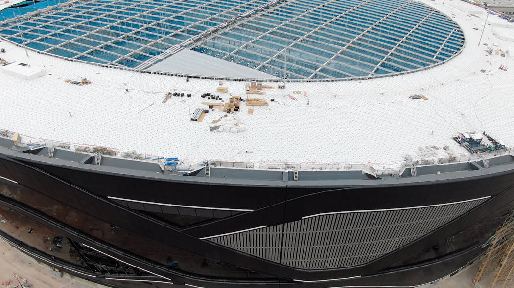 Aerial view of Allegiant Stadium shows the initial installation of the first Ethylene Tetrafluo ...