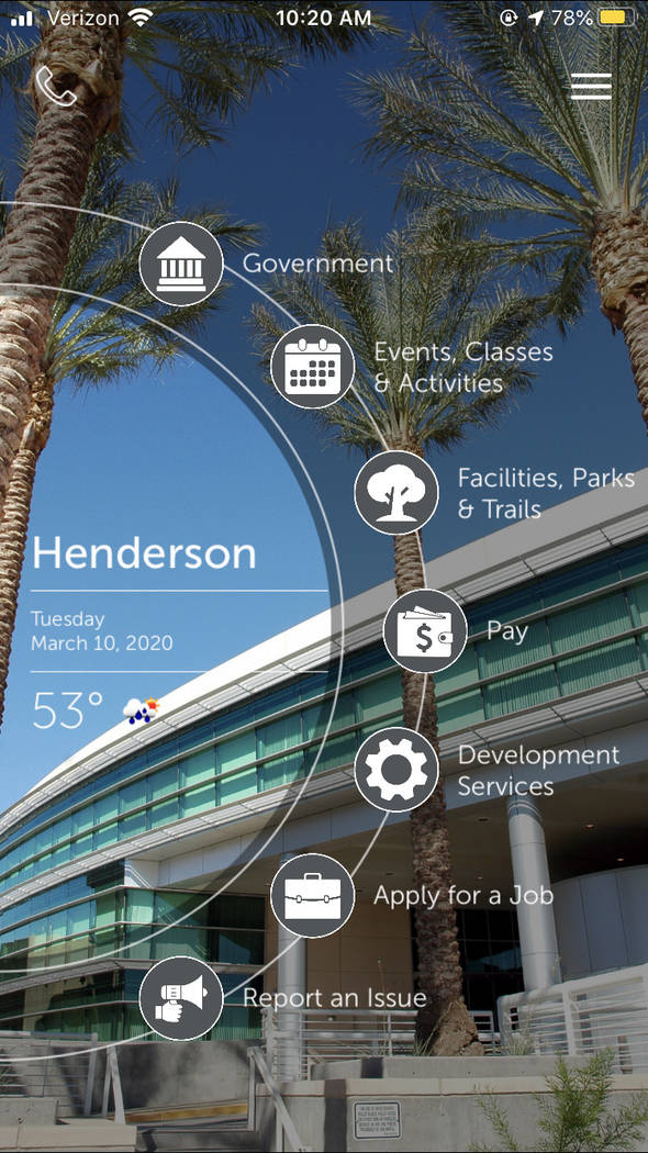 The city of Henderson rolled out a new mobile app in February that allows users to access featu ...