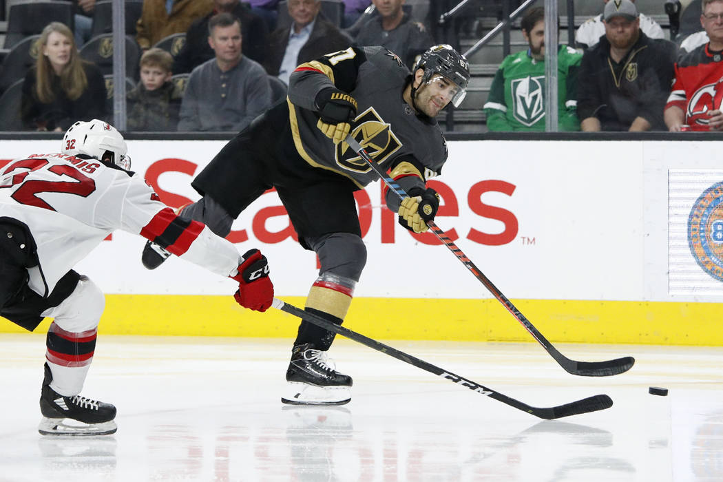 Vegas Golden Knights left wing Max Pacioretty (67) shoots to score against the New Jersey Devil ...