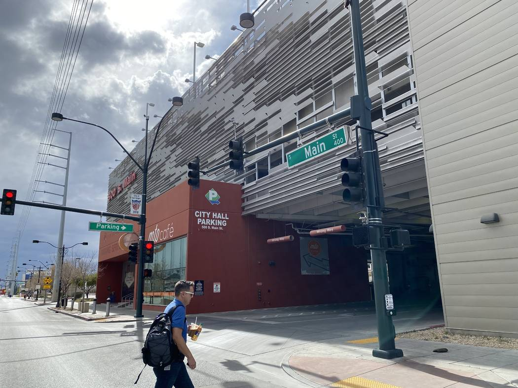 The city of Las Vegas is opening a pair of downtown parking garages transformed into Uber stagi ...