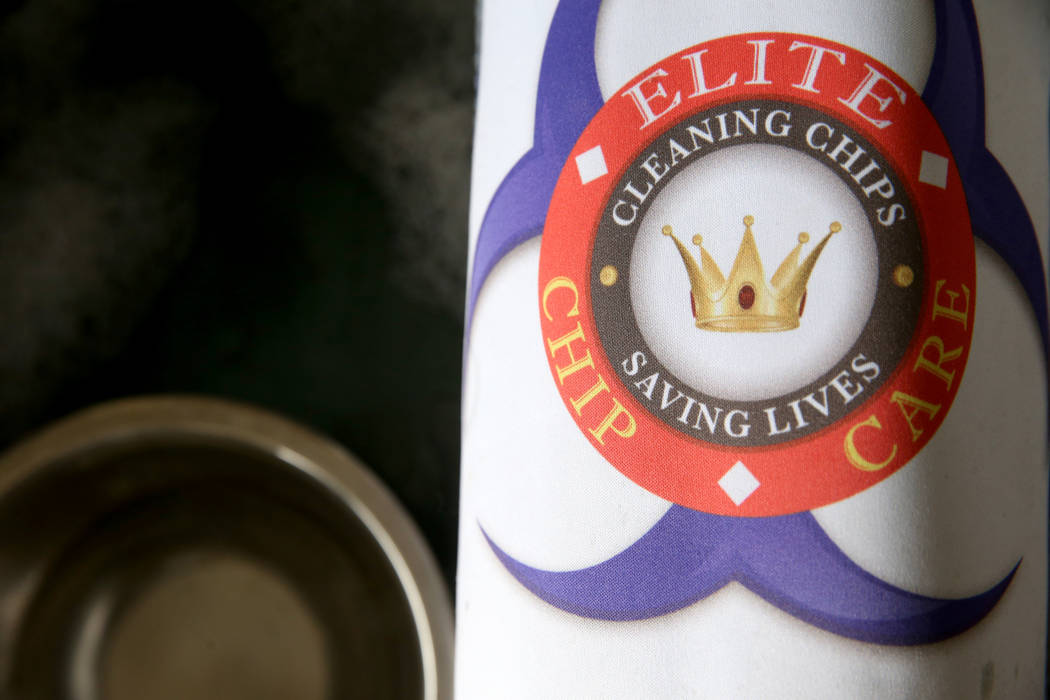 The logo for Elite Chip Care, a local casino chip cleaning and sanitation company, at the Las V ...