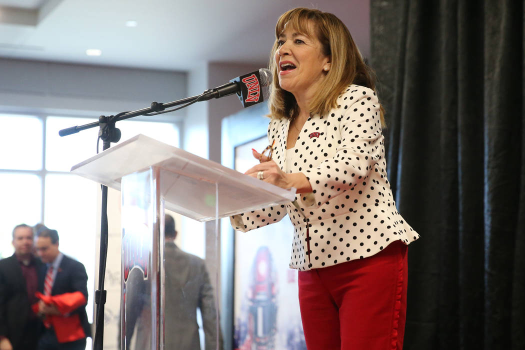 UNLV's President Marta Meana speaks during a press conference to announce UNLV's new football h ...