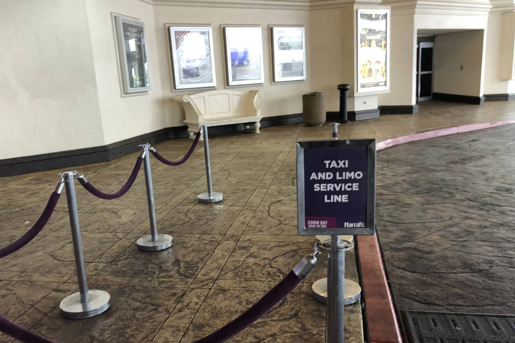 The taxi and limo service line at Harrah's casino on March 12, 2020, in Las Vegas. (Bizuayehu T ...