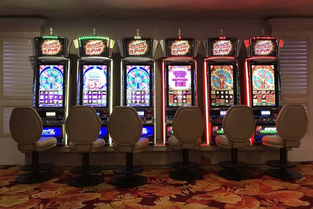 Empty slot machines at Tropicana hotel-casino on March 12, 2020, in Las Vegas. (Ellen Schmidt/L ...