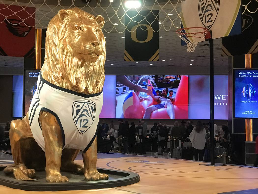 The lobby at MGM Grand hotel-casino on March 12, 2020, in Las Vegas. (Ellen Schmidt/Las Vegas R ...