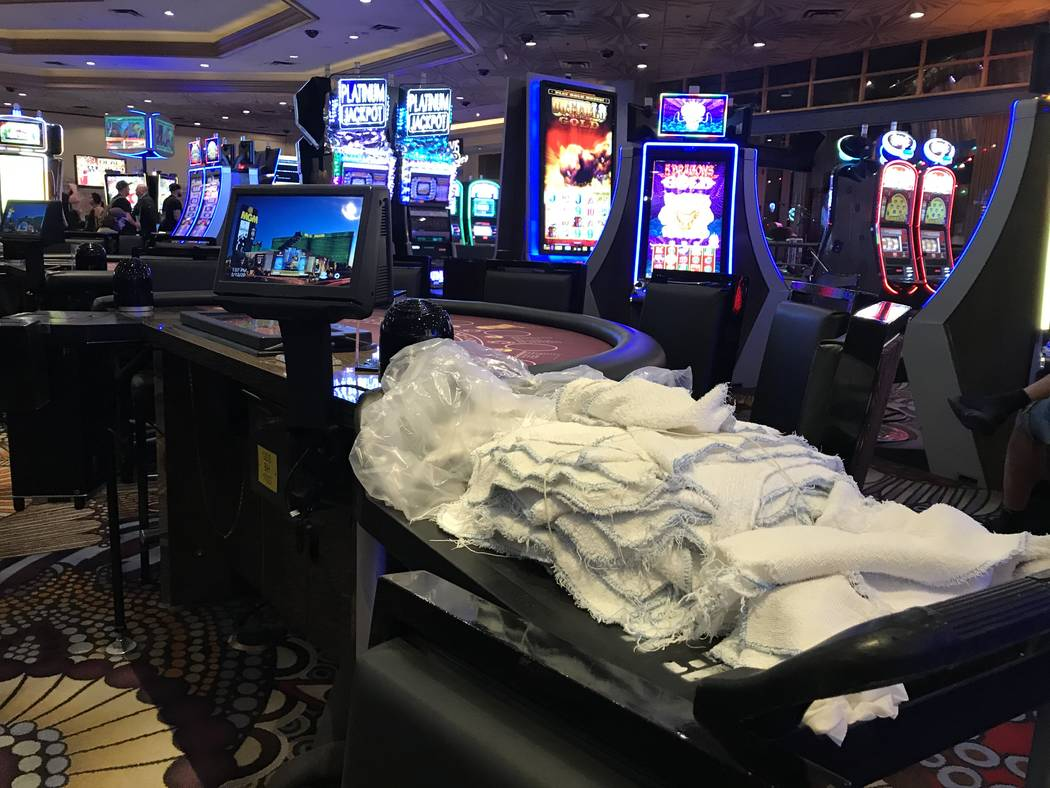 Cleaning supplies at MGM Grand hotel-casino on March 12, 2020, in Las Vegas. (Ellen Schmidt/Las ...