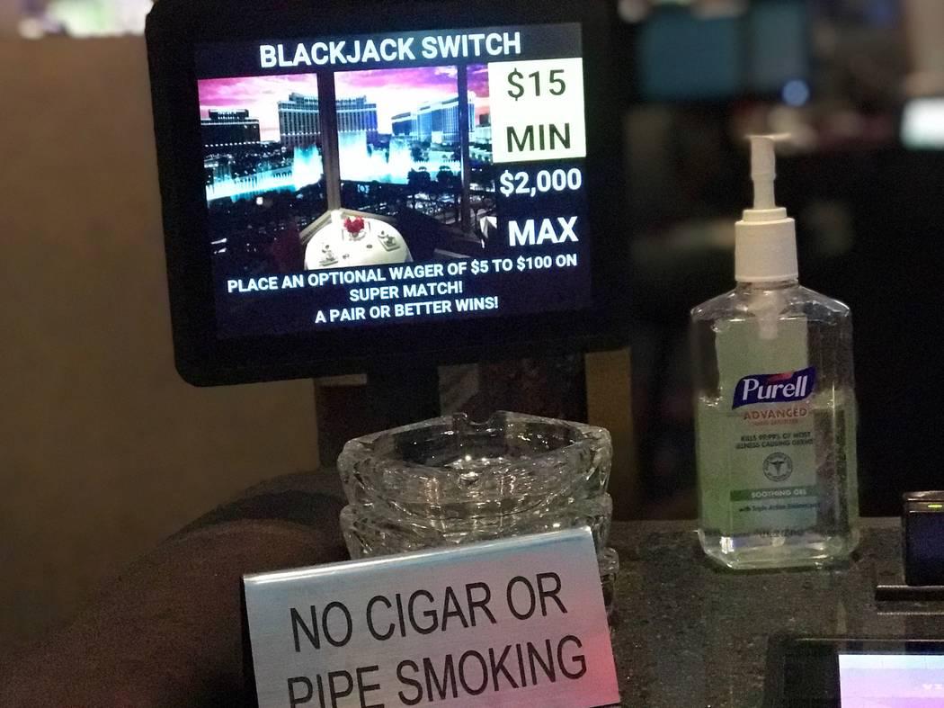 Purell at a blackjack switch table at Paris Las Vegas pictured on Marrch 12, 2020. (Ellen Schmi ...