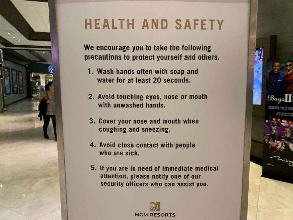 A health and safety sign at The Mirage on the Las Vegas Strip, Thursday, March 12, 2020. (Sabri ...