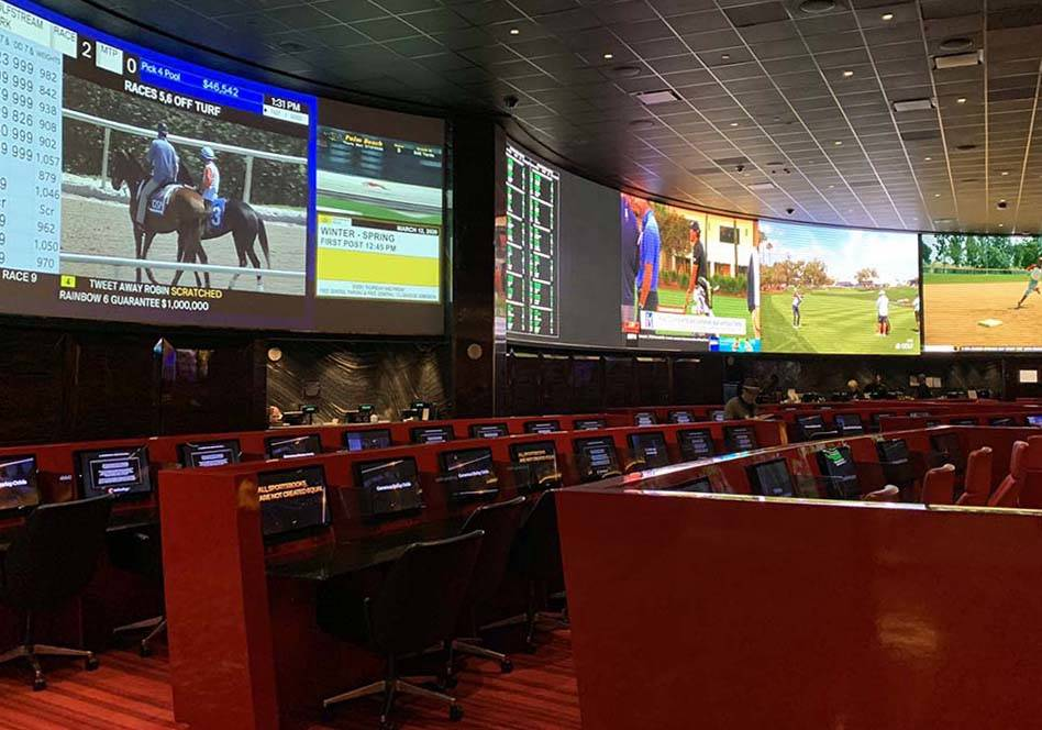 Sports book at The Venetian on the Las Vegas Strip was mostly empty on Thursday, March 12, 2020 ...