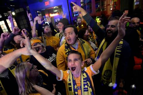 FILE - In this Nov. 19, 2019, file photo, Nashville SC fans cheer after the player selections w ...