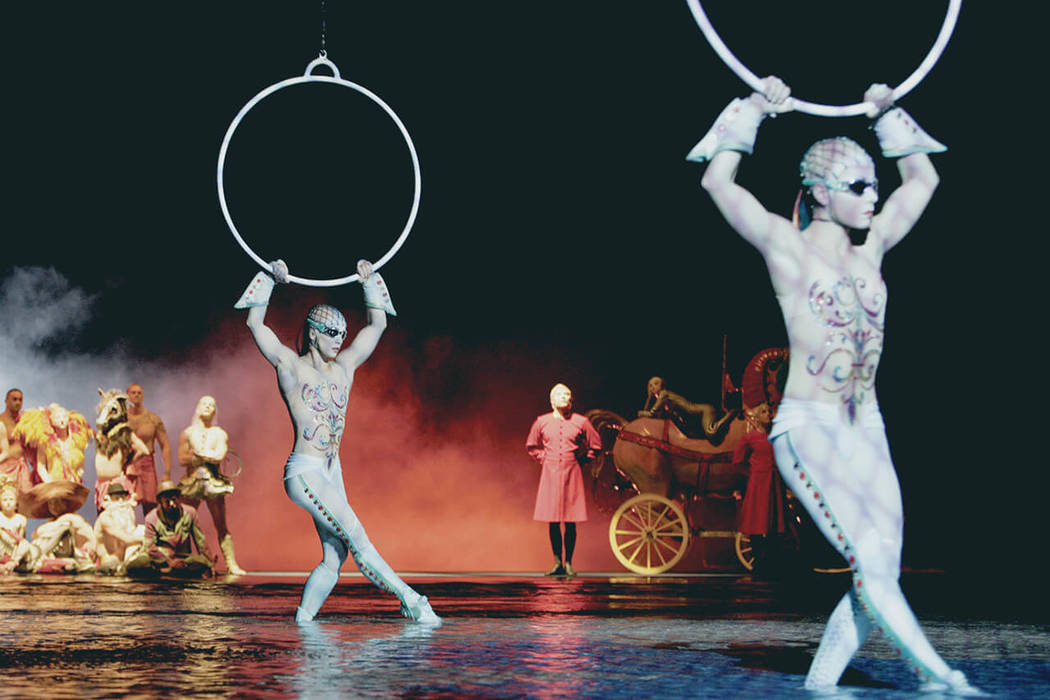 "The aerial hoops act in ""O,"" which celebrated its 10,000th performance at Bellagio on Sept. 1, ..."