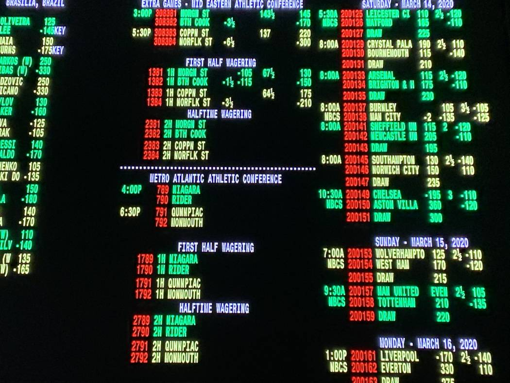 The betting board at the Green Valley Ranch Resort sportsbook on Thursday shows college basketb ...