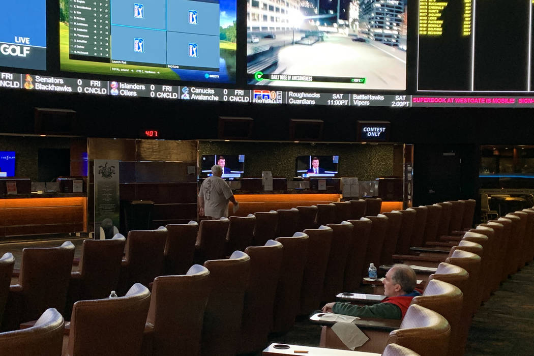 Seats are open at the Westgate sportsbook on Thursday. (Jim Barnes/Las Vegas Review-Journal)