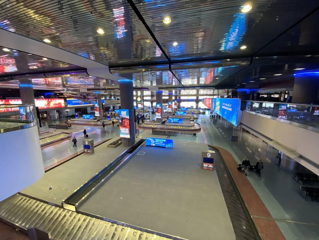 Baggage claim area of McCarran International Airport March 12, 2020. (Mick Akers/Las Vegas Revi ...