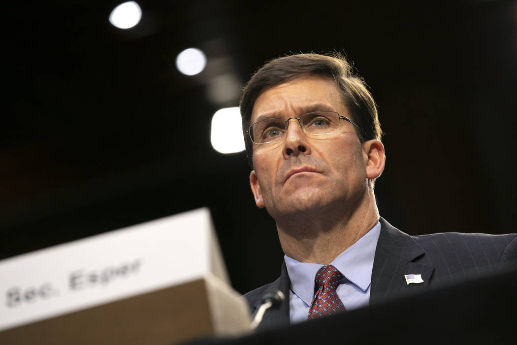 Defense Secretary Mark Esper testifies to the Senate Armed Services Committee about the budget, ...