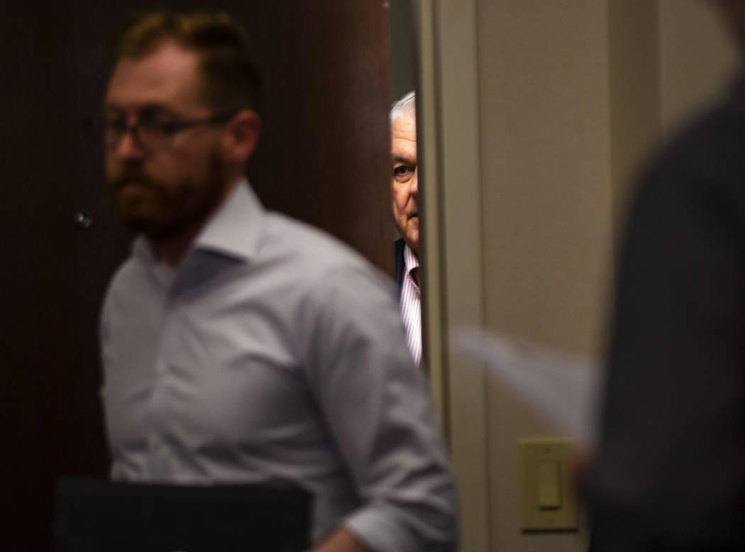 Gov. Steve Sisolak arrives for a press conference at the Sawyer Building in Las Vegas on Thursd ...