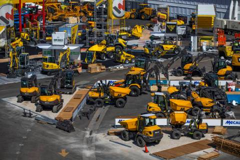 Numerous construction cranes are in place for the upcoming CONEXPO-CON/AGG at the Las Vegas Fes ...