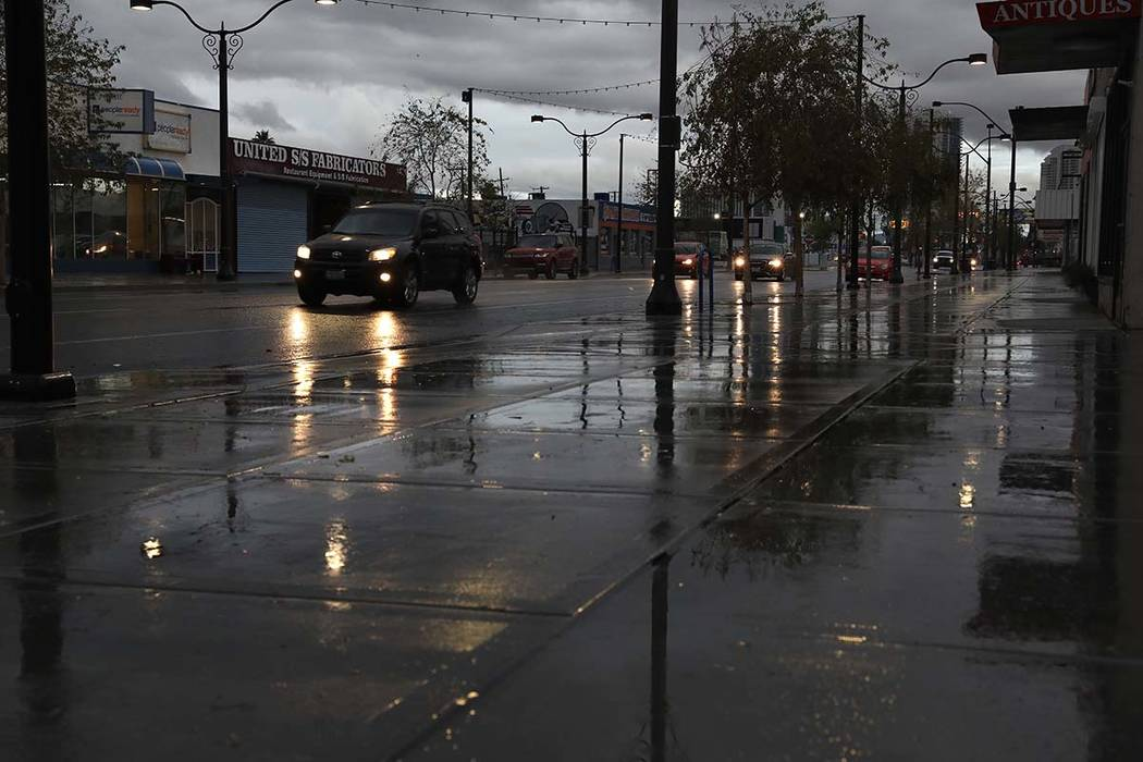 Downtown Las Vegas after overnight rain on Friday, March 13, 2020. (Elizabeth Page Brumley/Las ...