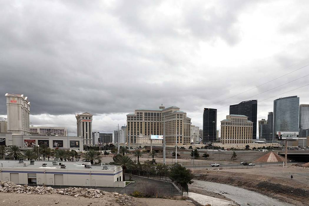 The Las Vegas strip an overnight rain on Friday, March 13, 2020. (Elizabeth Page Brumley/Las Ve ...