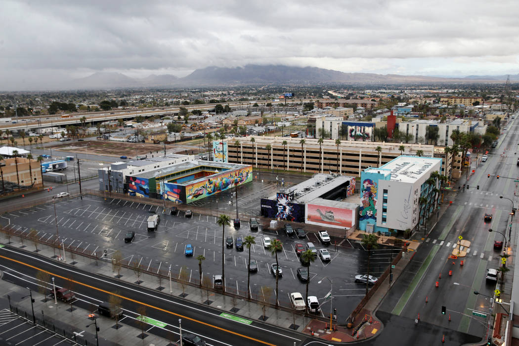 Commuters make their way into downtown Las Vegas on U.S. Highway 95 Friday, March 13, 2020, aft ...