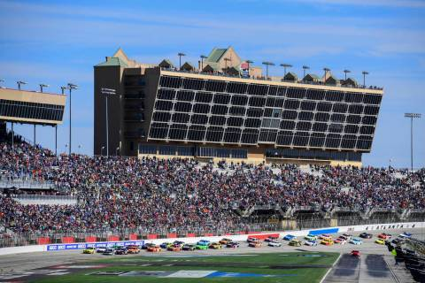 A NASCAR Monster Energy NASCAR Cup Series auto race starts at Atlanta Motor Speedway in Hampton ...