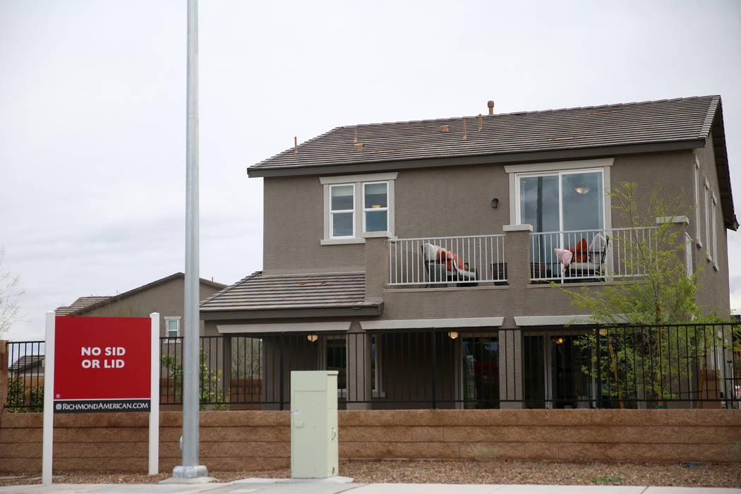 A model home in the Richmond American Chelsea Creek residential community in Las Vegas, Friday, ...