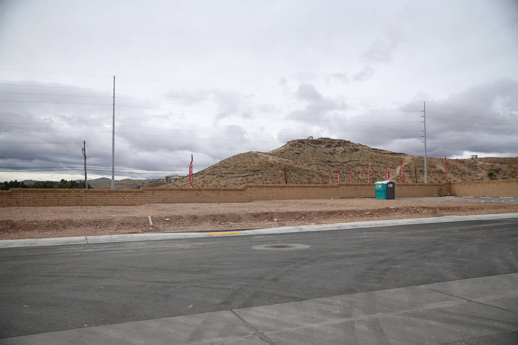 Empty home lots in the Richmond American Chelsea Creek residential community in Las Vegas, Frid ...