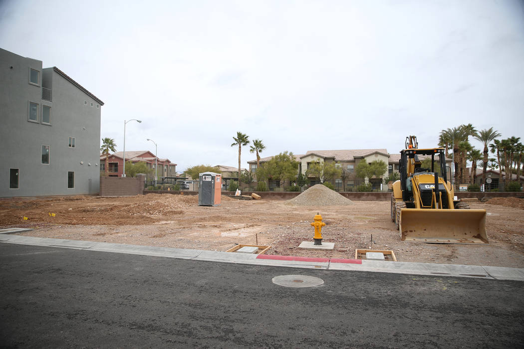 Empty lot spaces in the American West Skyview Mesa residential community in Las Vegas, Friday, ...
