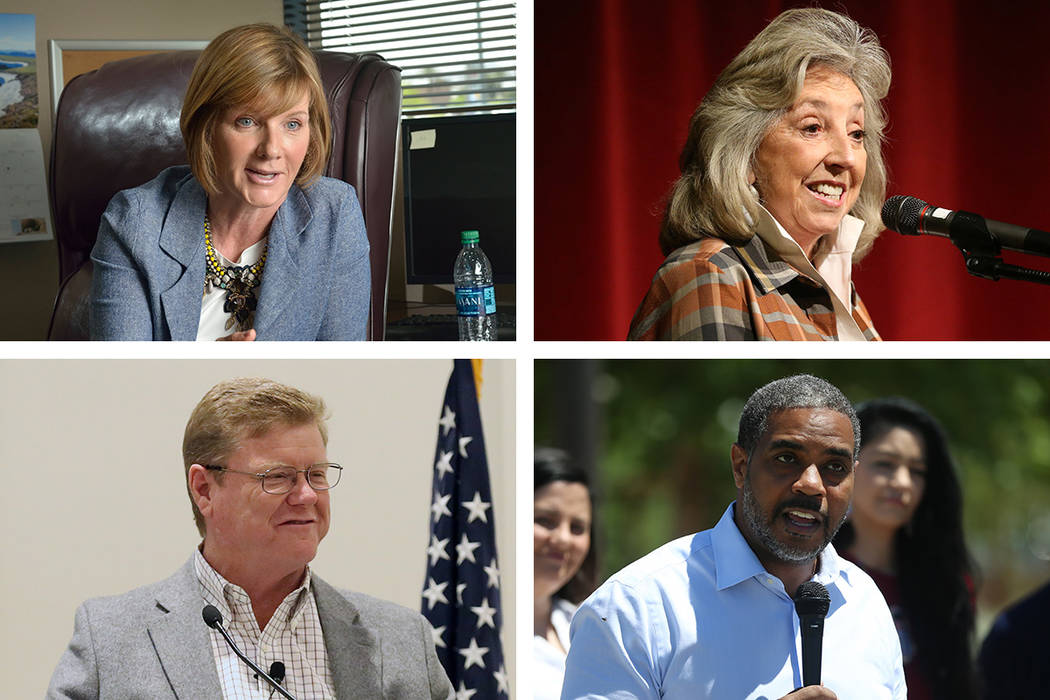 Incumbents Susie Lee, clockwise from top left, Dina Titus, Steven Horsford and Mark Amodei were ...
